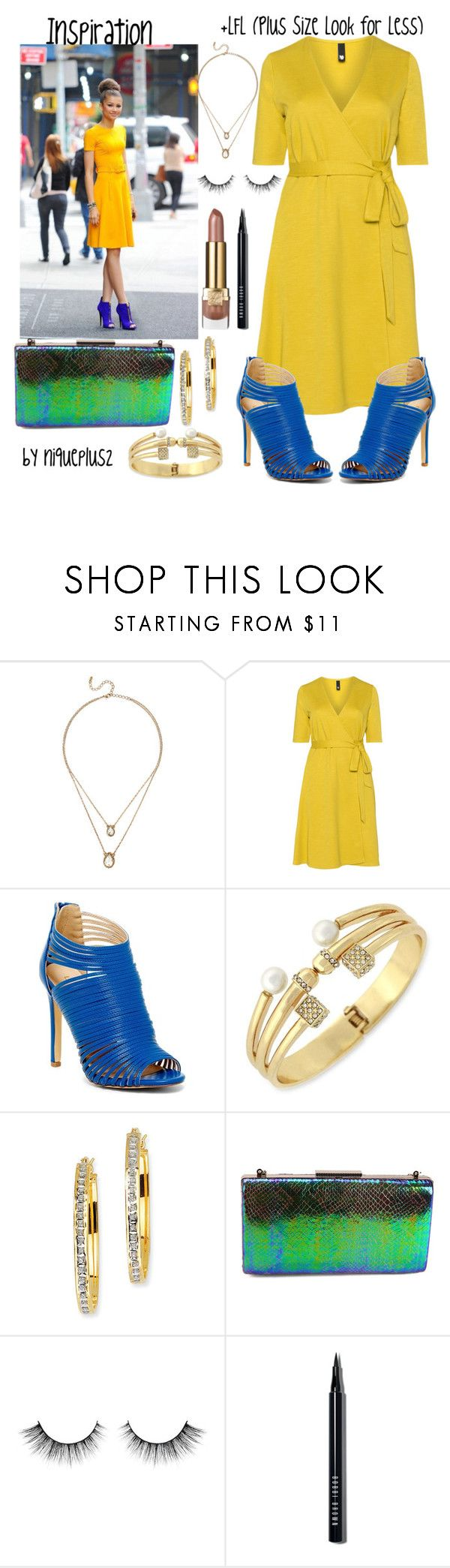 """""""+LFL (Plus Size Look for Less): Zendaya Yellow Dress & Blue Heels"""" by niqueplus on Polyvore featuring Manon Baptiste, Liliana, BCBGeneration, Kevin Jewelers, Estée Lauder, Bobbi Brown Cosmetics, women's clothing, women, female and woman"""