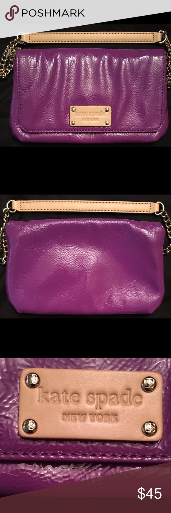 💜Authentic Kate Spade Clutch/mini bag💜 💜Authentic Kate Spade Patent leather Purple Clutch/mini bag💜 Like New! No Flaws! This adorable clutch/mini bag is perfect for going out! Interior has polka dot print and includes 4 pocket slots. Top two slots do not fit a credit card because of the way it's stitched. Chain can be tucked in to make into a clutch. 9 inches long by about 5 inches  tall. Chain is about 7 1/4 inches long. Great for all seasons! kate spade Bags Clutches & Wristlets