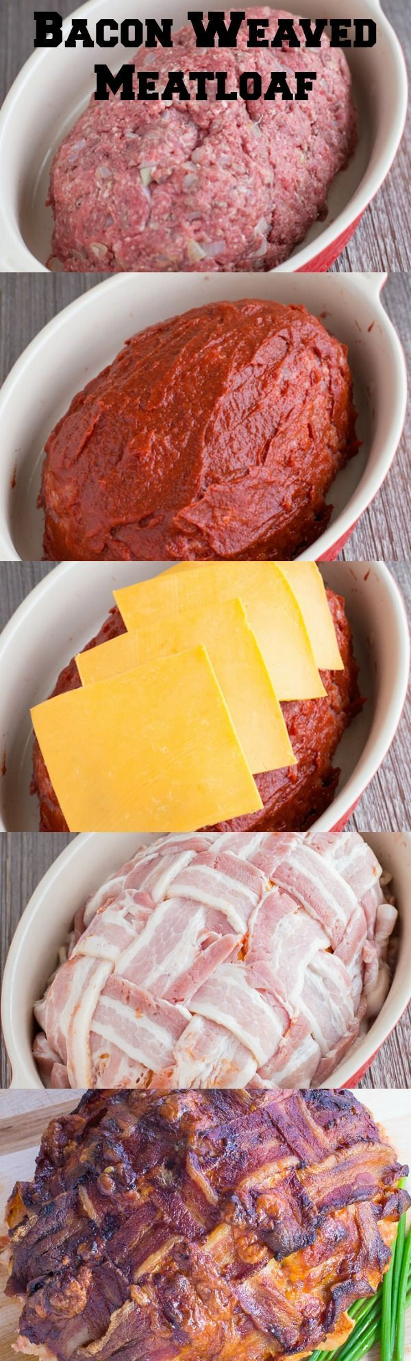 Start with an amazing tasting meatloaf recipe, topped with tomato sauce, cheese and basket weaved bacon.