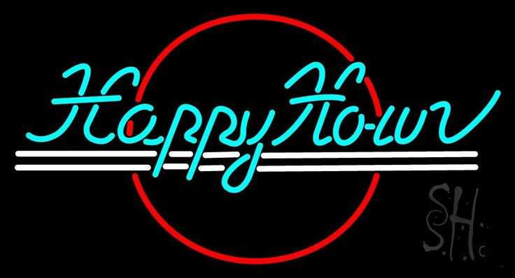 Blue Happy Hour Neon Sign 20 Tall x 37 Wide x 3 Deep, is 100% Handcrafted with Real Glass Tube Neon Sign. !!! Made in USA !!!  Colors on the sign are Red, White and Turquoise. Blue Happy Hour Neon Sign is high impact, eye catching, real glass tube neon sign. This characteristic glow can attract customers like nothing else, virtually burning your identity into the minds of potential and future customers.