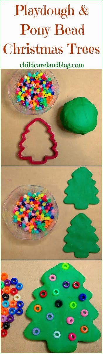 childcareland blog: Playdough and Pony Bead Christmas Trees