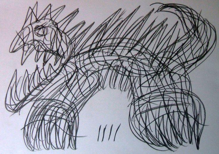 """""""Felino mostruoso"""" 2014 Carboncino su carta 21x29.5 ©Pietro Gargano"""