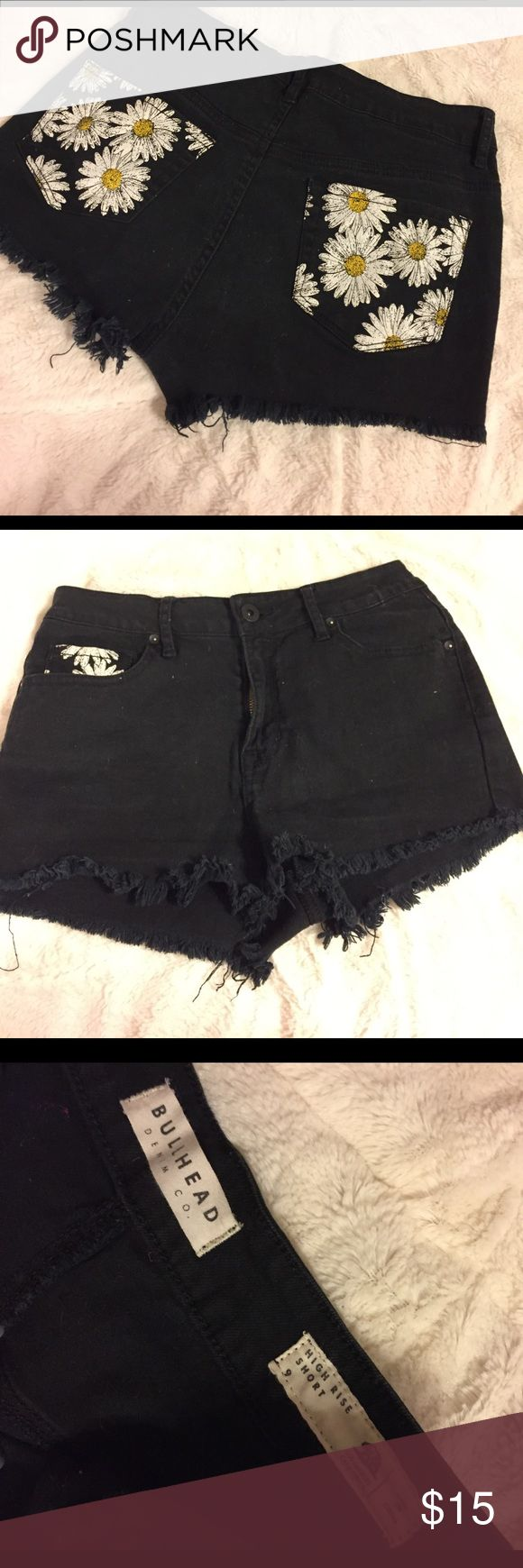 PACSun high rise black  shorts! Size 9. Bullhead brand, size 9. Black denim with frayed edges. High rise, barely worn, great condition!  PacSun Shorts Jean Shorts
