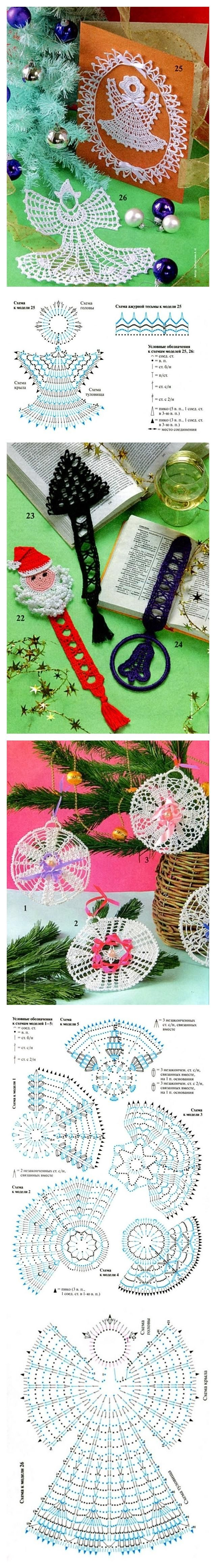 Free crochet Christmas ornament, bookmark and angel patterns.