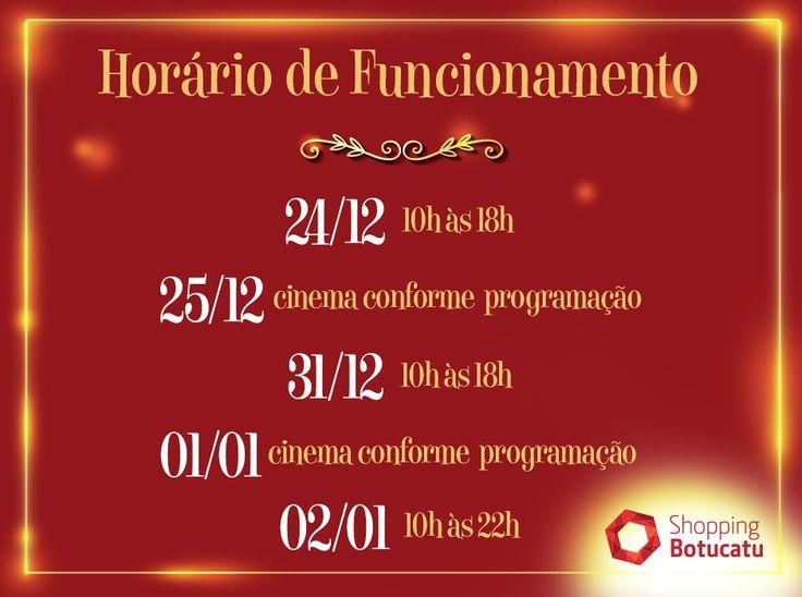 Shopping Botucatu abre em horários especiais neste final de ano -  O Shopping Botucatu funcionará em horário especial nos próximos dias. As salas de cinema Cineflix possuem horário diferenciado e o estacionamento é gratuito. 24/12 – 10h às 18h  25/12 – Cinema conforme programação  31/12 – 10h às 18h  01/01 – Cinema conforme programação  02/01 – 10h às  - http://acontecebotucatu.com.br/geral/shopping-botucatu-abre-em-horarios-especiais-neste-