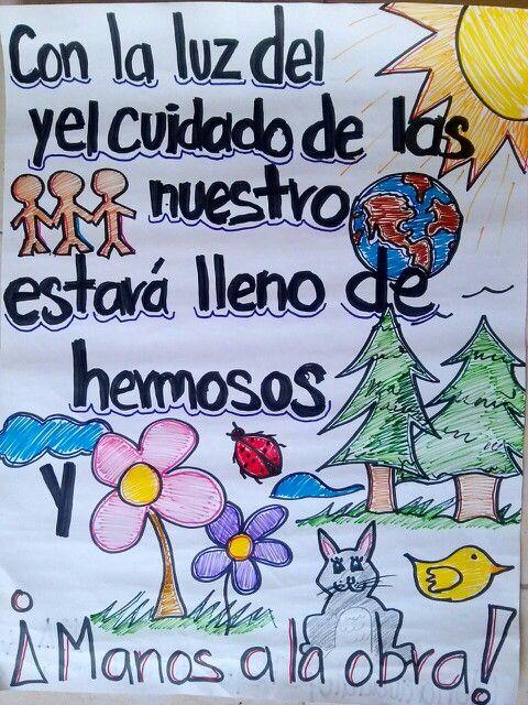 Cartel del cuidado de la ecologia y medio ambiente for Diario mural en ingles