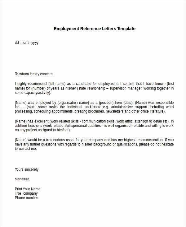 Employment Letter Of Recommendation Template Elegant