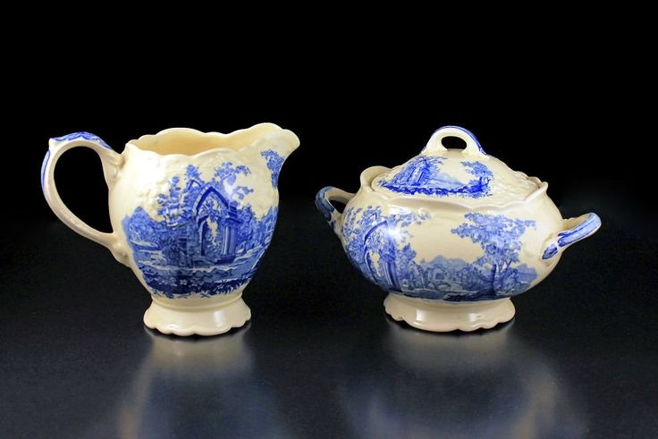 Sugar Bowl and Creamer, Taylor Smith & Taylor, English Abbey, Fairway, Embossed, Hard to Find, Blue and Cream Colored, Fine China, by MountainAireVintage on Etsy