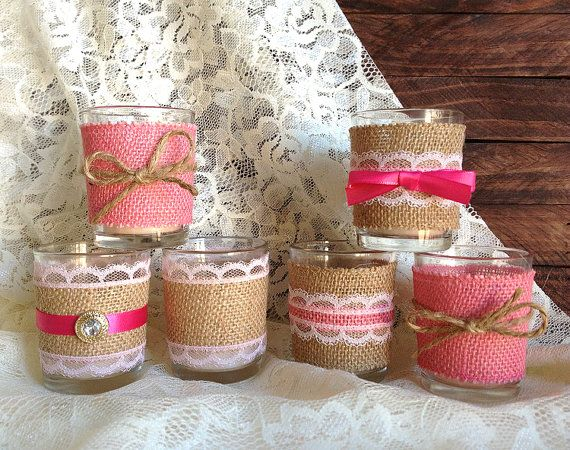 burlap and lace pink votive tea candles wedding, bridal shower, tea party deocration