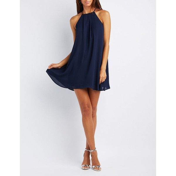 Charlotte Russe Bib Neck Shift Dress ($24) ❤ liked on Polyvore featuring dresses, navy, prom dresses, navy blue bridesmaid dresses, shift dresses, bridesmaid dresses and navy cocktail dresses