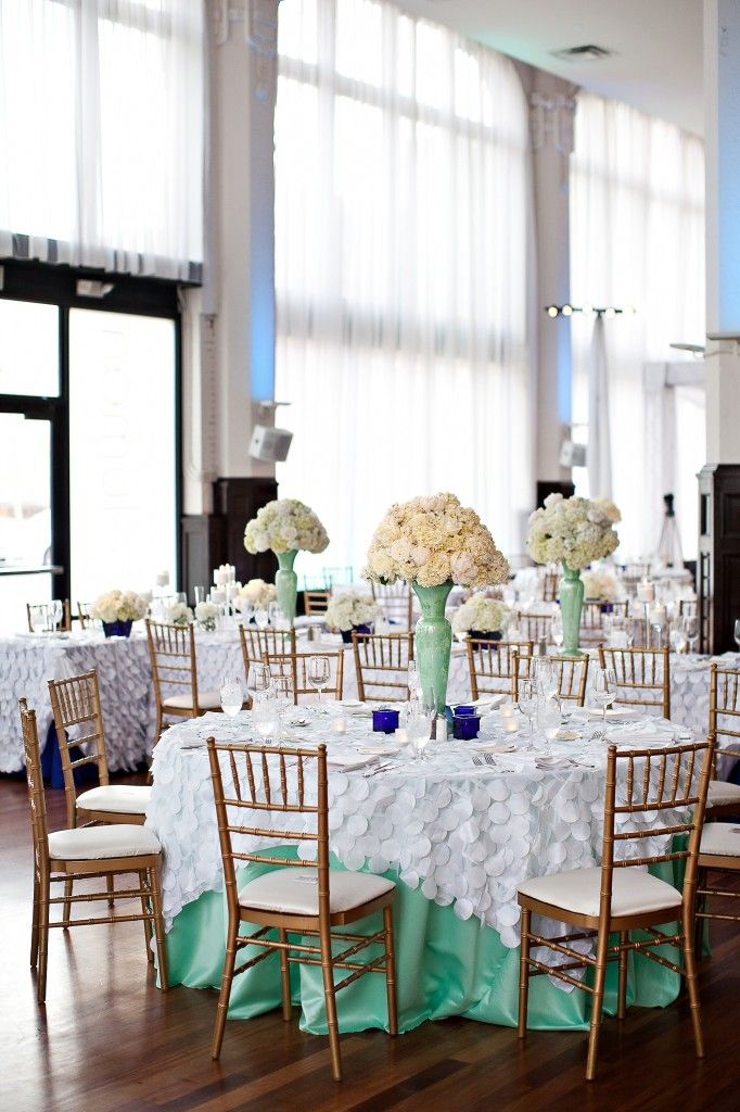mint green and gold wedding | ... with mint and cobalt underlays and mint green vases centerpieces