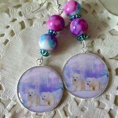 Boucles d'oreille fantaisie oursons sur la banquise et perles marbrées bleu, rose et blanc@laboutiquedenath