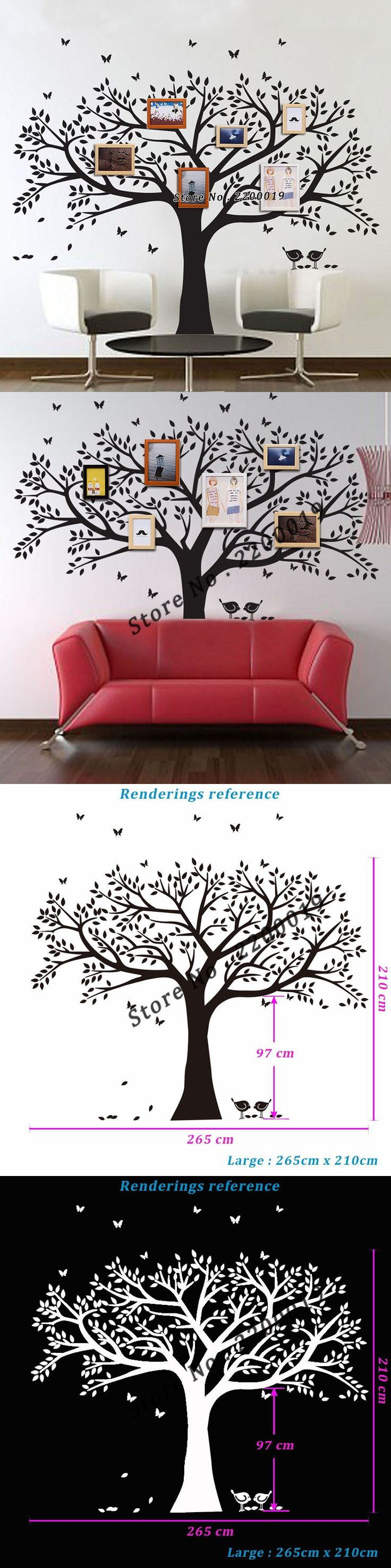 Picture frame family tree wall art tree decals trendy wall designs - Oversized 265x210cm Family Tree Decal Extra Large Wall Stickers Home Decor Living Room Wall Art Decor Warm Home Decoration