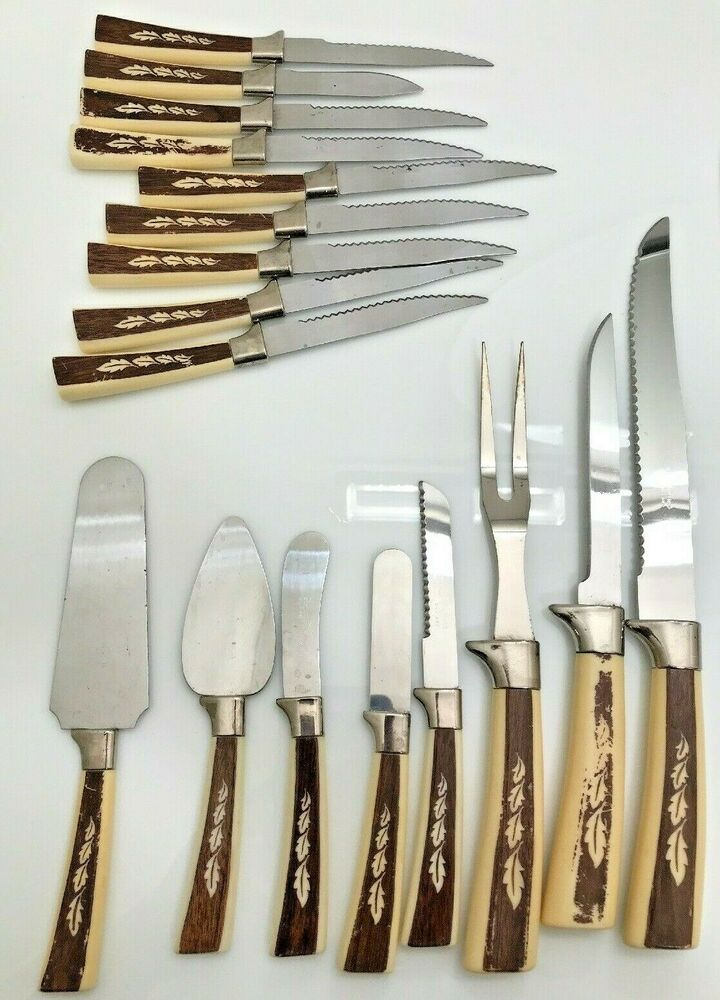 Regent Sheffield Stainless Steel England Cutlery Knife Set 17 Pcs Leaf Design Regent Global Knife Set Knife Sets Global Knives