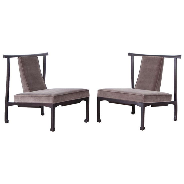 Pair of James Mont Style Asian Lounge Chairs | From a unique collection of antique and modern lounge chairs at http://www.1stdibs.com/furniture/seating/lounge-chairs/