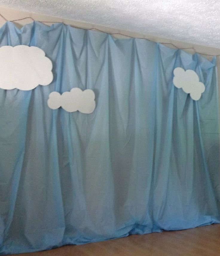 Katelynu0027s Superhero Party Sky Photo Backdrop. Made From Plastic Table Cloths  And Poster Board Clouds
