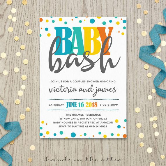Baby bash couples co-ed baby shower invitation card baby boy shower invite gender neutral customized personalized printable DIGITAL by HandsInTheAttic