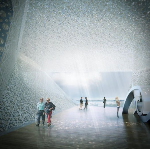 Interior view from the terrace area for the museum of Guggenheim by TheeAe LTD