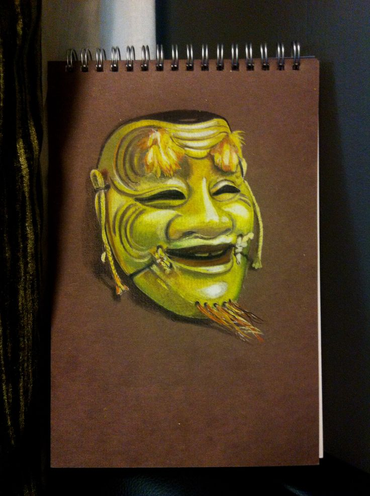 Japanese theatre mask  Prismacolor pencil on pastel paper Www.facebook.com/brendamkelly