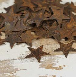 Rusty tin stars (and hearts too) in bulk.