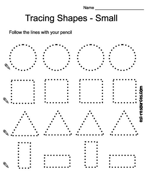 Tracing shapes worksheet Pre k worksheets, Shapes