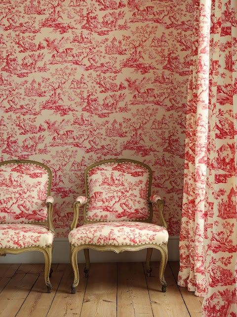 toile toile toile - Fabulously French. Too much for me, but like the chairs OR papering in a room