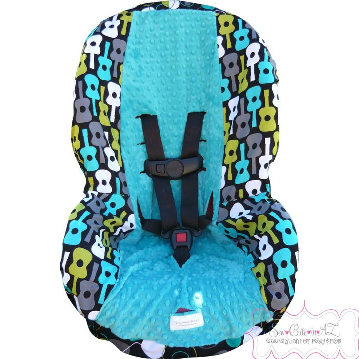 Groovy Guitars Lagoon with Teal Toddler Car Seat by sewcuteinaz, $40.00