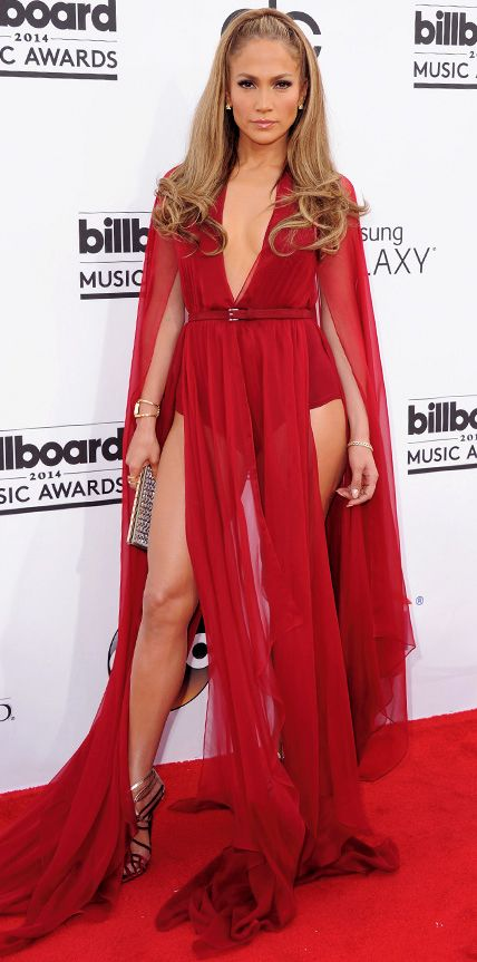 Lopez was red-hot at the 2014 Billboard Music Awards in a caped Donna Karan bodysuit with slashed floor-grazing panels as her skirt.