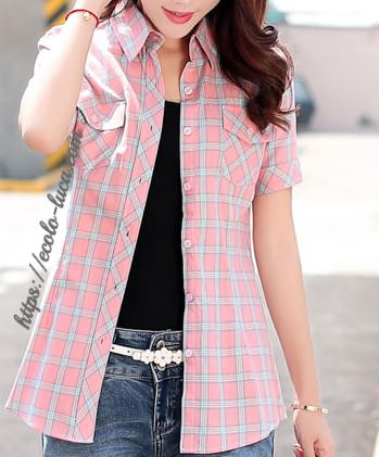 Plaid Short Sleeves Pockets Blouses – Ecolo.luca