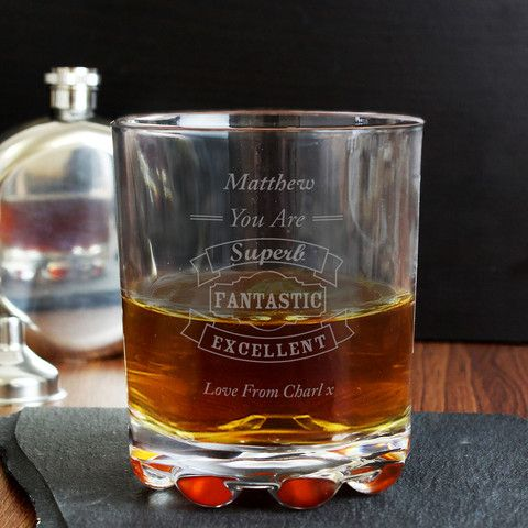 Whisky Glass - Personalised Vintage Typography Whisky Glass