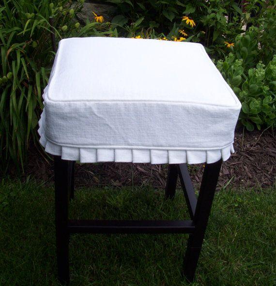 square slip covers | Square Barstool Linen Slipcover Bar Stool Cover knife pleats