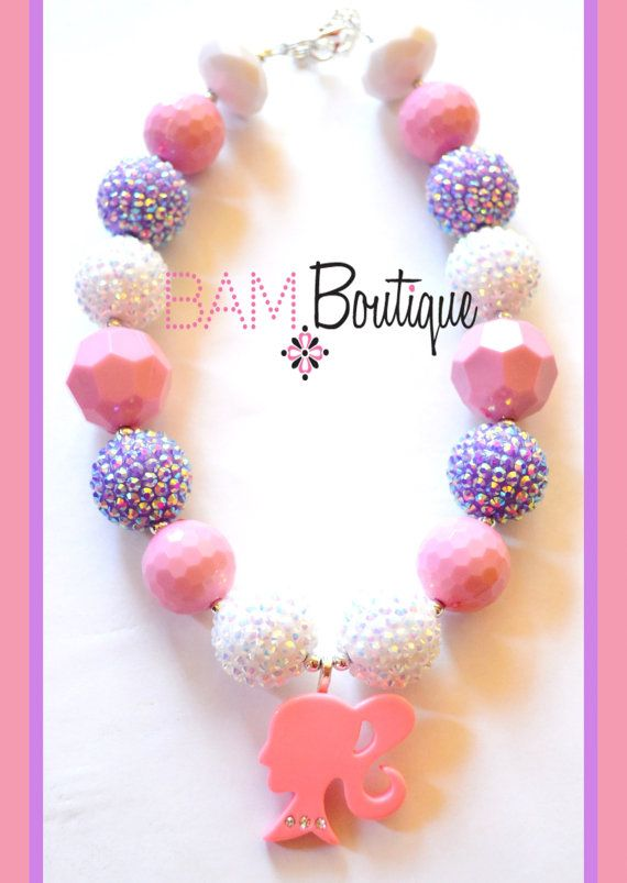 Chunky Toddler Necklace Pink Barbie Inspired by BAMBeadBoutique