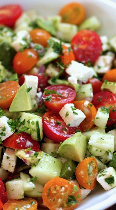 Tomato, Cucumber, Avocado Salad  Come check out yummspiration.com for more vegan recipes! We are also on facebook.com/yummspiration so come like us for more Vegan Tips & Tricks!