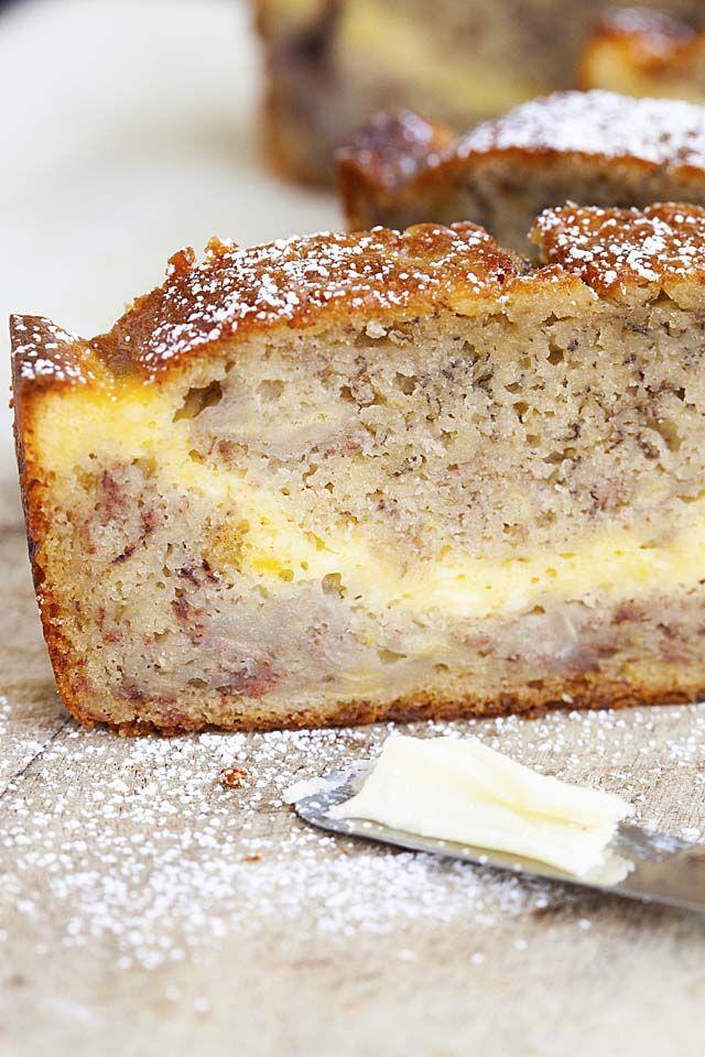 Cheesecake Banana Bread Loaded With Cream Cheese Rasa Malaysia Banana Bread Buttermilk Banana Bread Homemade Banana Bread