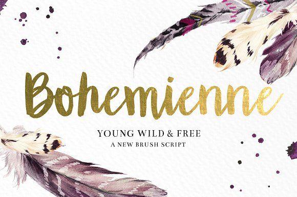 """Bohemienne"" Brush Script by Shelly Laslo on @creativemarket"