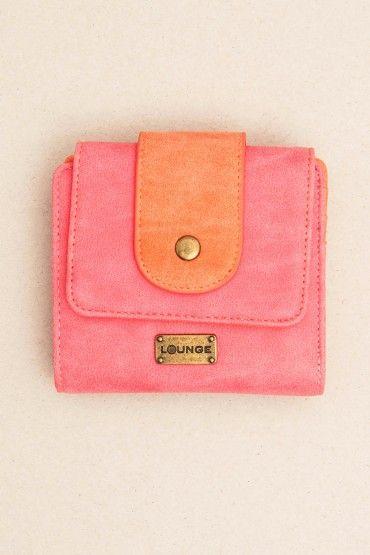 Billetera rosada y naranja