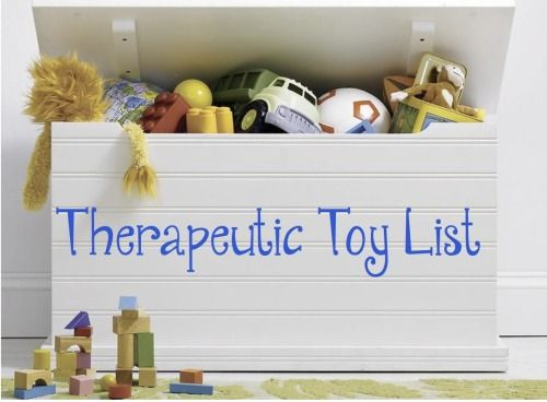 Here is a list of therapeutic toys that are commonly used in play therapy. 1. Nurturing/Family Toys Purpose: Build and explore relationships Dolls, baby bottles, blankets, diapers, doll house (furniture and doll family), puppet family (people and/or animals), miniatures, kitchen set (food, dishes, etc.), doctor's kit. 2. Fantasy/Pretend Toys Purpose: Express feelings, and play out roles/scenarios Dress-up clothes/hats, costume jewelry, puppets, miniatures, mirror, masks, play money, magic…