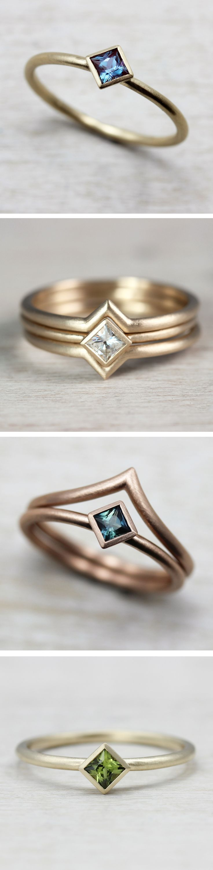 We love how versatile our Oblique Solitaire Engagement Ring is. Perfect for someone looking for a delicate, minimal, modern, and unique alternative engagement ring. Pictured from top to bottom: in 14k yellow gold with a Chatham alexandrite, in 10k yellow