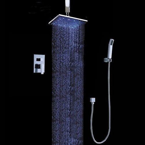 12u0027u0027 LED Ceiling Mount Rain Shower System With The Shower Head U0026 Hand Shower  Set