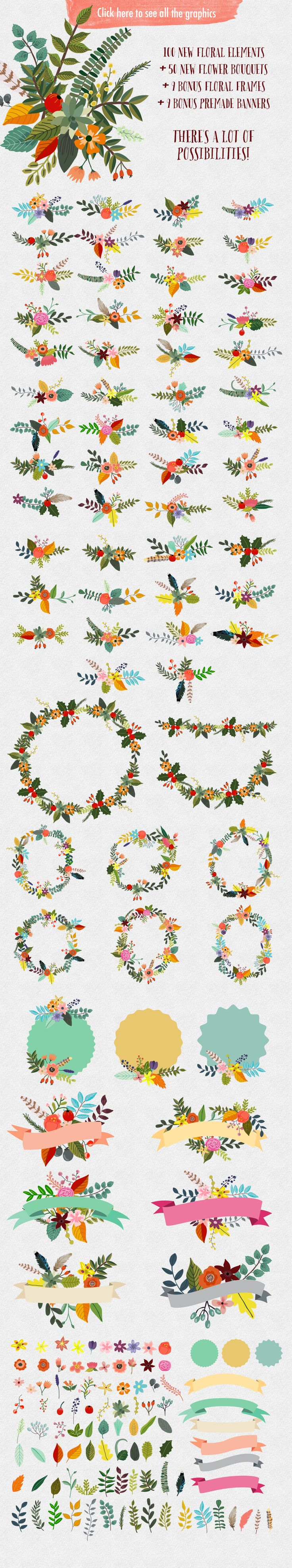 Illustrations Product Images ~ Vintage Flowers… ~ Creative Market- Mia Charro - Great for wedding designs