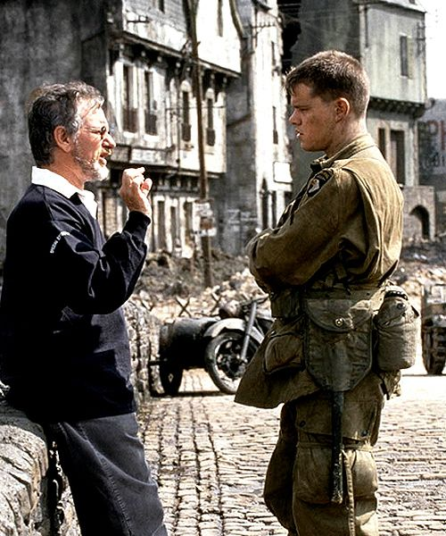Steven Spielberg & Matt Damon on the set of Saving Private Ryan  (1998)