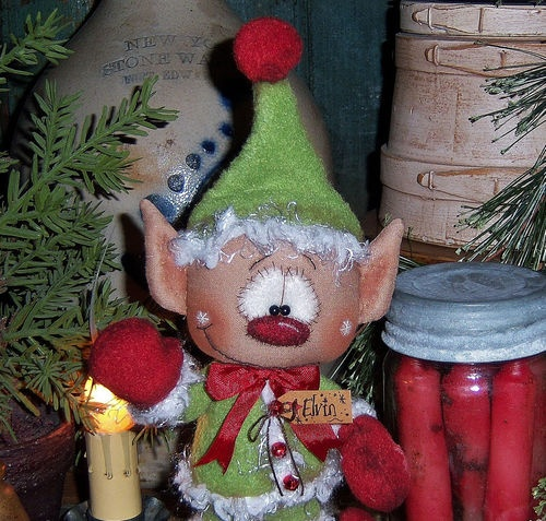 Primitive-Raggedy-Andy-Santa-Elf-Christmas-Ornie-9-Doll-Vtg-Pattis-Ratties