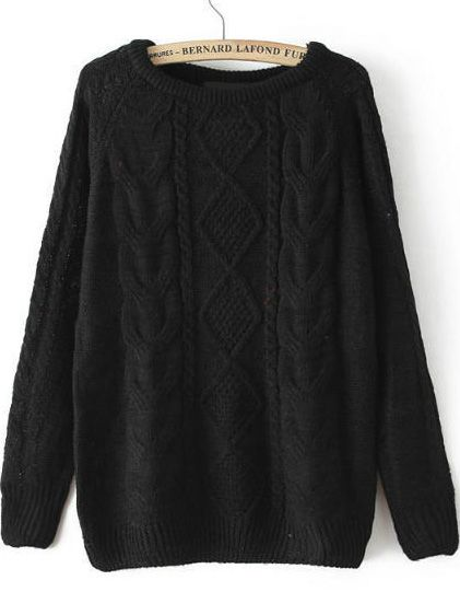 Cable Knit Loose Black Sweater 18.54
