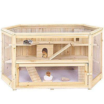 Songmics XXL Wooden Hamster Cage Guinea Rodent House Mice ...