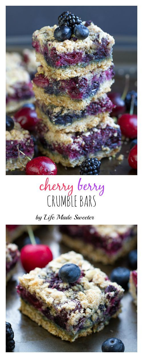 Fresh Cherry Berry Crumble Bars are super easy to make the best buttery streusel crust & topping. Top it with a scoop of ice cream for the perfect summer dessert.