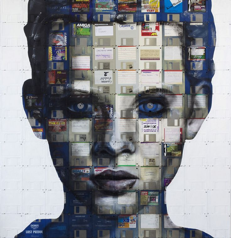 Collage using old disks: Floppydisk, Nick Gentri, Good Ideas, Artists Nick, Floppy Disk, Disk Portraits, Floppy Disc, Nickgentri, Recycled Art