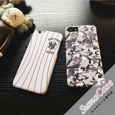 MLB(エムエルビー)ブランド ニューヨーク・ヤンキース チームシャツ 野球風 ホワイト 迷彩 カモフラージュ スクラブ カバー型 PCハードケース for iPhone8/7S/7/6S/6/Plus