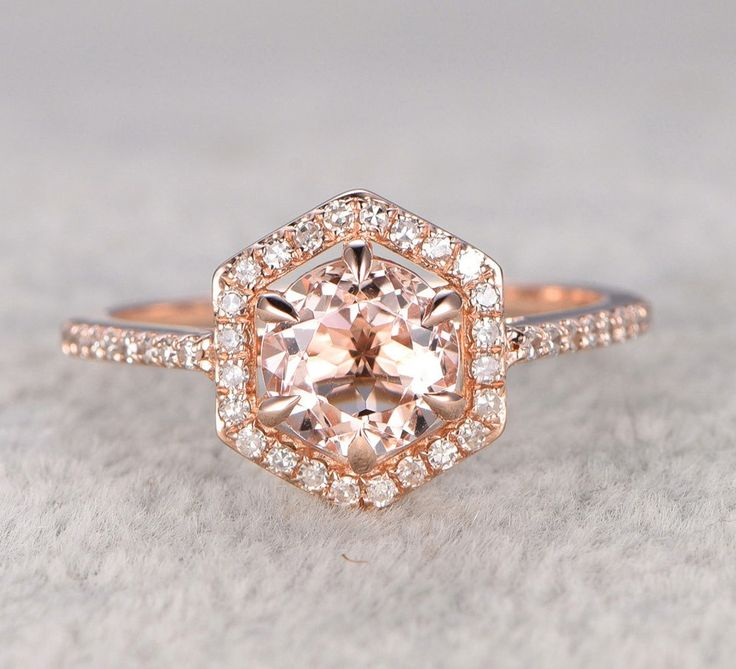 round morganite engagement ring pave diamond wedding hexagon halo 14k rose gold 7mm - Colored Wedding Rings