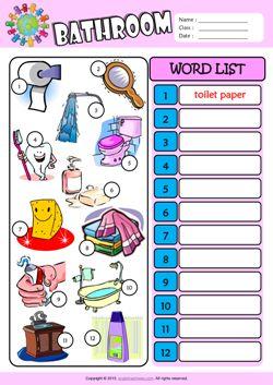 Bathroom Write the Words ESL Vocabulary Worksheet