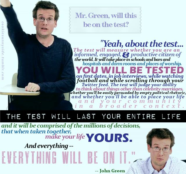 John Green, author and half of the Vlogbrothers. Teach it.: Dftba, Classroom Poster, Test, Hank Green, Johngreen, Teacher, John Green Quotes